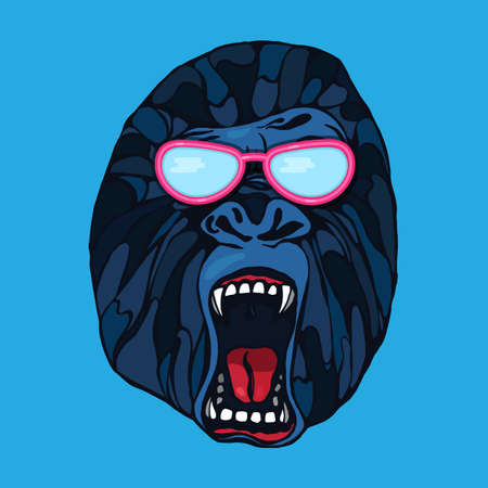 growling: Growling detailed gorilla in cartoon style with glasses. Design for t-shirt, poster, bag. Vector Illustration