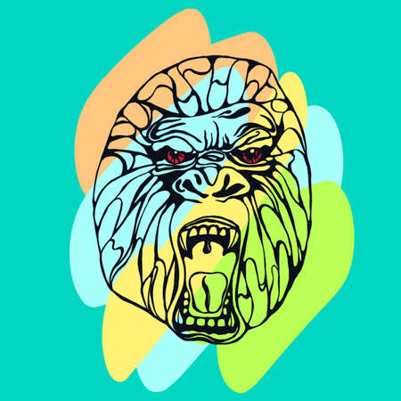 growling: Growling detailed gorilla with color spots. Design for t-shirt, poster, bag. Vector