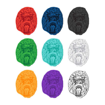 growling: Growling detailed gorilla in sticker style. Design for t-shirt, poster, bag. Vector