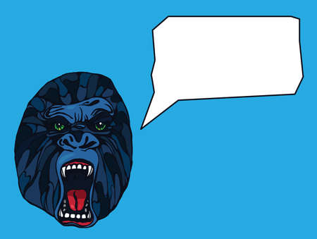growling: Growling detailed gorilla with text bubble. Design for t-shirt, poster, bag. Vector