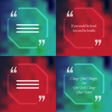 citing: Template of square quote text bubble  in form of polygon. Motivation quote. Change Your Thoughts And You Will Change Your World. Vector