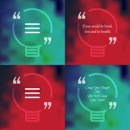 citing: Template of square quote text bubble in form of lamp. Motivation quote. Change Your Thoughts And You Will Change Your World. Vector Illustration