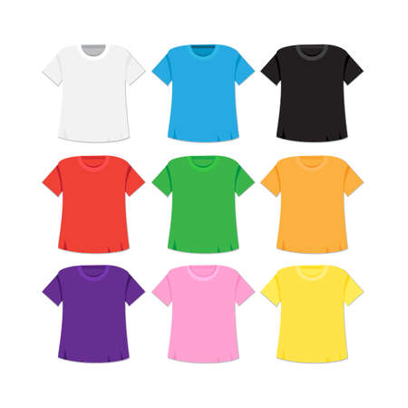 T-shirt templates set with different colors. Isolated singlet. Vector