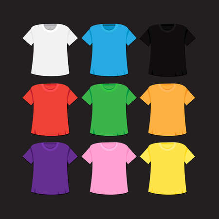 singlet: T-shirt templates set with different colors. Isolated singlet. Vector