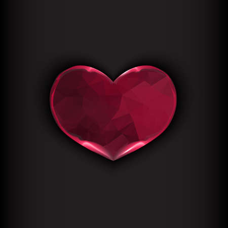 shiny heart: Fire heart on black background. Valentines day concept. Vector