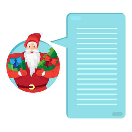 father frost: Merry Christmas greeting with Santa Claus or Father Frost with gift and fir in hands. Wish list. Template or blank with holiday concept. Vector
