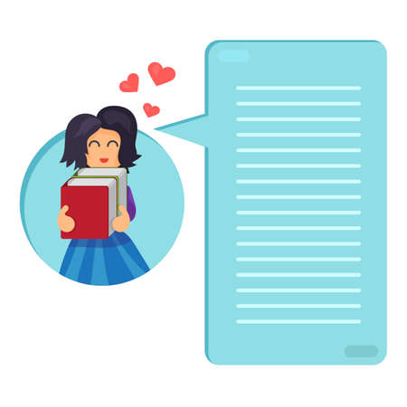 interesting: Girl hugging books. Love of reading. Thinking list. Template or blank with reading book concept. Vector