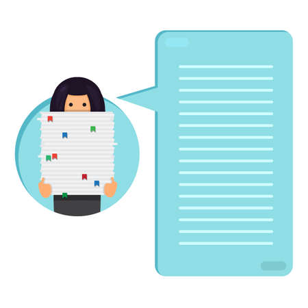 bookkeeper: Office worker with big stack of paper. She has a lot of work. All hands job illustration. Thinking list. Template or blank with job concept. Vector