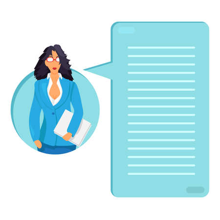 bookkeeper: Business lady with documents. Office dress code. Thinking list. Template or blank with job concept. Vector Illustration