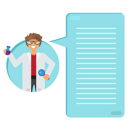 substance: Scientist learning substance in flask. Thinking list. Template or blank with science and innovation concept.. Vector