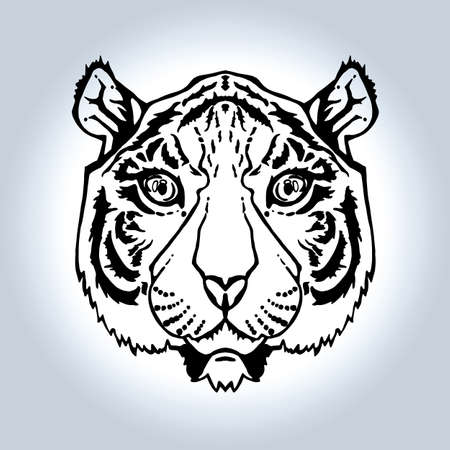 lineart: Illustration of isolated tiger head in vintage style for textiles, print and tattoo. Line-art. Vector