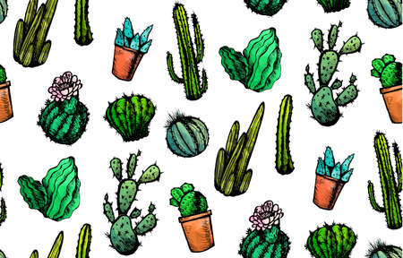 Hand Drawn Isolated Cactuses Seamless Pattern. Cactus Ornament in vintage style for textiles, print and etching. Line-art. Vector