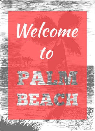 Vector tropical summer illustration with palm tree and islands. Welcome to palm beach. Vector Illustration