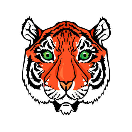 t shirt isolated: Illustration of isolated tiger head in vintage style for textiles, print and tattoo. Line-art. Vector