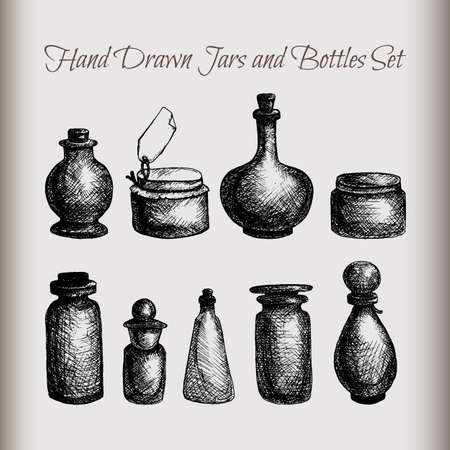 essential oil: Hand drawn isolated vintage glass jars and bottles set. Containers for jams, food, attar, otto, essential oil, oils, liquid, perfume. Vector Illustration