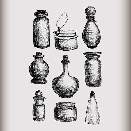 jams: Hand drawn isolated vintage glass jars and bottles set. Containers for jams, food, attar, otto, essential oil, oils, liquid, perfume. Vector Illustration