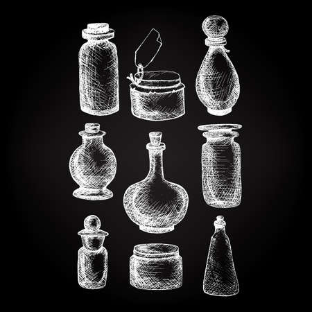 apothecary: Hand drawn isolated vintage glass jars and bottles set. Containers for jams, food, attar, otto, essential oil, oils, liquid, perfume. Vector Illustration