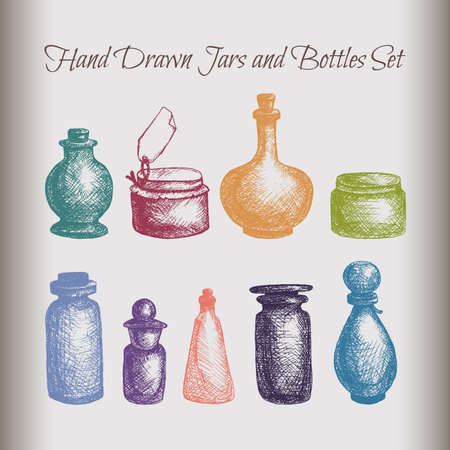 attar: Hand drawn isolated vintage glass jars and bottles set. Containers for jams, food, attar, otto, essential oil, oils, liquid, perfume. Vector Illustration
