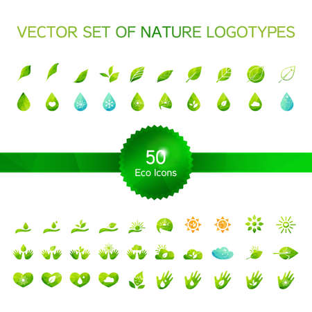 Set of 50 ecology icons, nature logo, biology symbols from leaves and hand, sun and snow, drop and heart. Vector