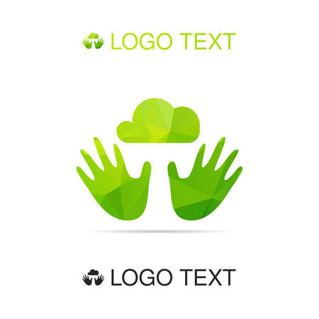 palate: Ecology logo or icon, nature logotype, air symbol in hands. Vector Illustration