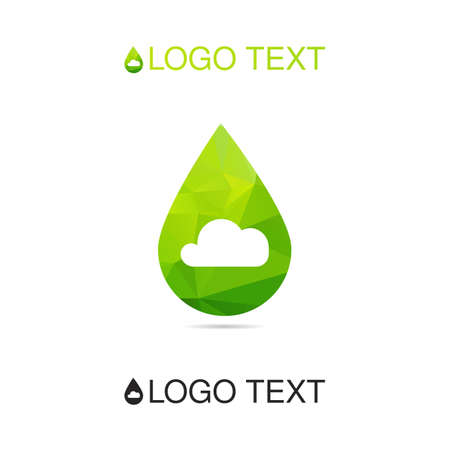 breath: Ecology logo, breath icon, nature logotype, air symbol with cloud in drop of water. Vector Illustration