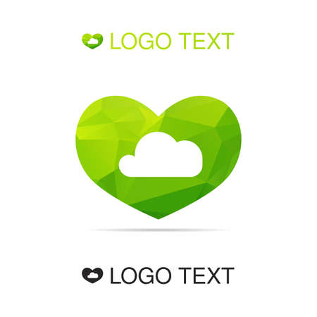 palate: Ecology logo or icon, nature logotype, air symbol of cloud in heart. Vector Illustration