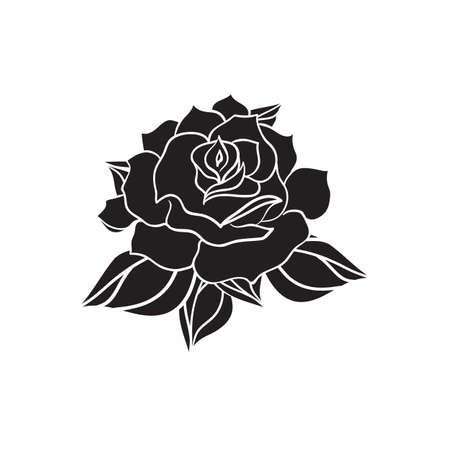 rose tattoo: Hand Drawn Wedding Rose. Flower Template for wedding, holiday, celebration. Rose for print, tattoo and digital art. Vector