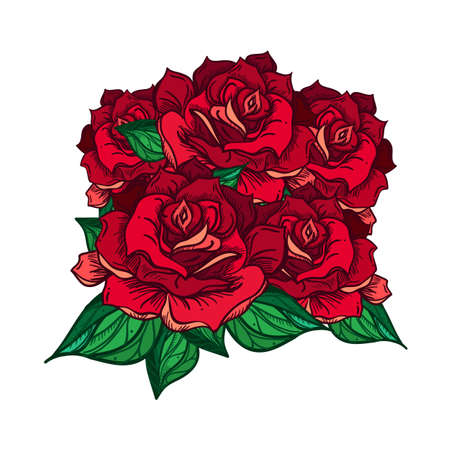 rose tattoo: Hand Drawn Wedding Rose  Bouquet. Flower Template for wedding, holiday, celebration. Rose for print, tattoo and digital art. Vector