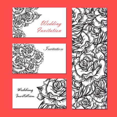 rose tattoo: Hand Drawn Wedding Rose Invitation. Flower Template for wedding, holiday, celebration. Rose for print, tattoo and digital art. Vector Illustration