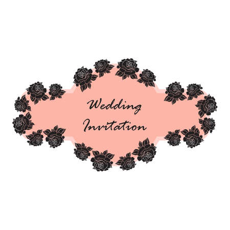 rose tattoo: Hand Drawn Wedding Rose Banner. Flower Template for wedding, holiday, celebration. Rose for print, tattoo and digital art. Vector Illustration