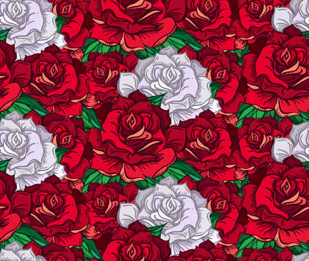 rose tattoo: Hand Drawn Wedding Rose Seamless Pattern. Flower Template for wedding, holiday, celebration. Rose for print, tattoo and digital art. Vector