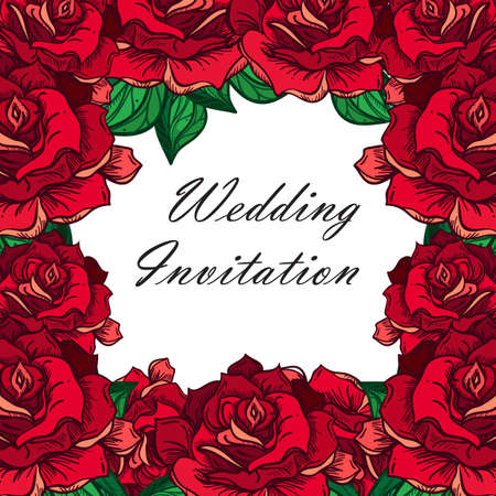 rose tattoo: Hand Drawn Wedding Rose Frame. Flower Template for wedding, holiday, celebration. Rose for print, tattoo and digital art. Vector
