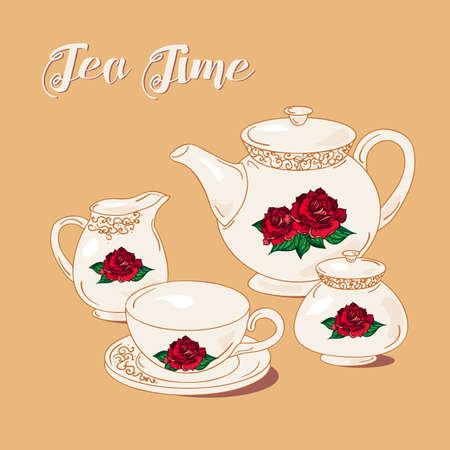 tea set: Tea Time and Tea Set in vintage style. Traditional english tea with floral dishware from rose. Vector
