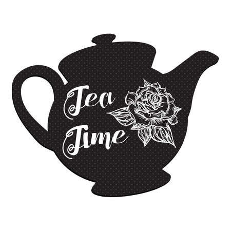 tea rose: Tea Time and Tea Set in vintage style. Traditional english tea with floral dishware from rose. Vector