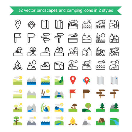 Landscapes and camping 32 icons set. Nature and traveling symbols. Ecology and geological signs. Vector