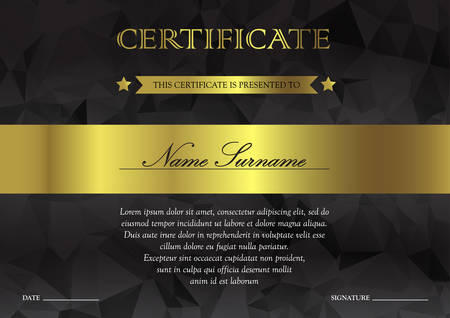 Horizontal black dark and gold certificate and diploma template with vintage, floral, filigree and cute pattern for winner for achievement. Blank of award coupon. Vector