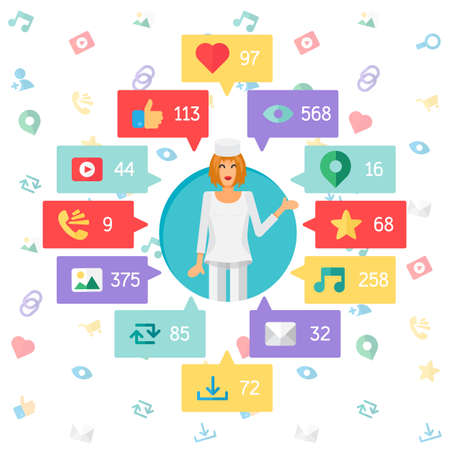 url virtual: Web Life of Doctor or Nurse from blog and social networks, online shopping and email, files of video, images and photos. You can change figures in bubbles - count of views, likes and reposts. Vector