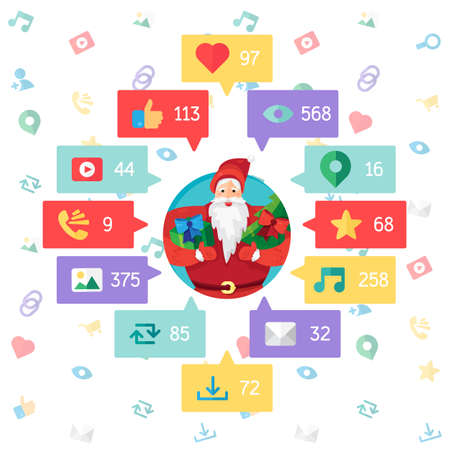 url virtual: Web Life of Santa Claus from blog and social networks, online shopping and email, files of video, images and photos. You can change figures in bubbles - count of views, likes and reposts. Vector