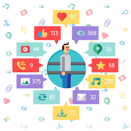 url virtual: Web Life of Sportsman from blog and social networks, online shopping and email, files of video, images and photos. You can change figures in bubbles - count of views, likes and reposts. Vector