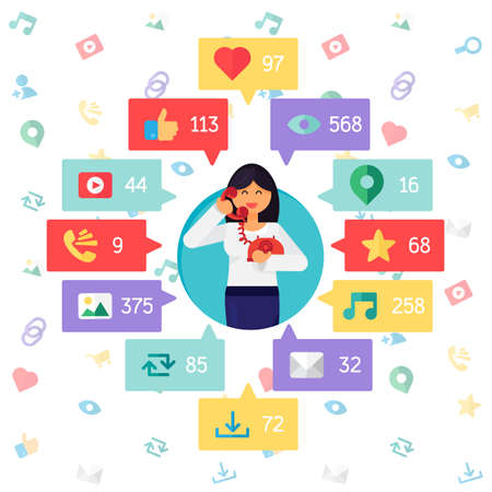 url virtual: Web Life of Worker Woman from blog and social networks, online shopping and email, files of video, images and photos. You can change figures in bubbles - count of views, likes and reposts. Vector