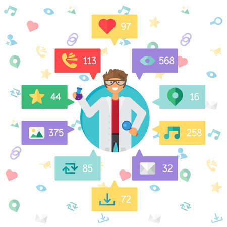 url virtual: Web Life of Scientist from blog and social networks, online shopping and email, files of video, images and photos. You can change figures in bubbles - count of views, likes and reposts. Vector Illustration