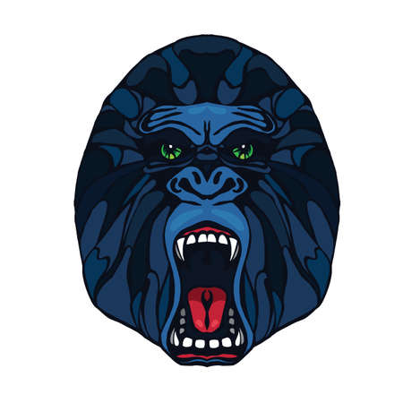 growling: Growling detailed gorilla in cartoon style. Design for t-shirt, poster, bag. Vector