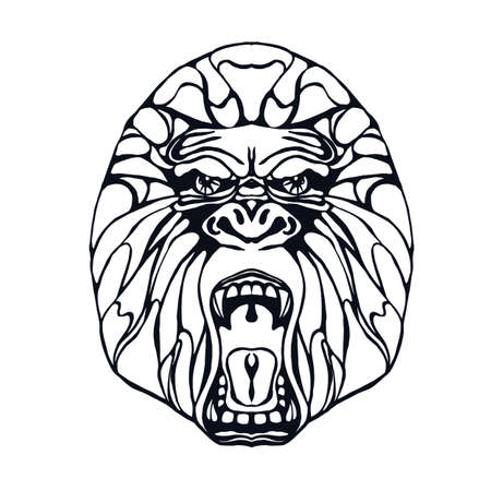 growling: Growling detailed gorilla in line and tattoo style. Design for t-shirt, poster, bag. Vector