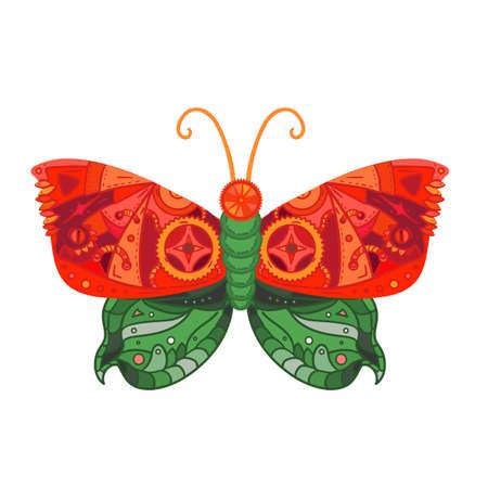 tattoo farfalla: Fantastica farfalla in stile steampunk per il tatuaggio, autoadesivo, stampa e decorazioni. Vettore