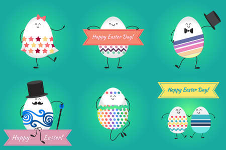 april: Happy easter with happy dancing, stanging and sitting eggs. Vector
