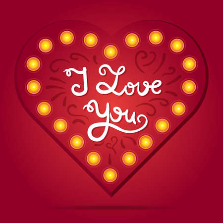 about you: Retro heart with lettering. Red greeting about love for Valentines Day. Vintage wedding card. I love you. Vector
