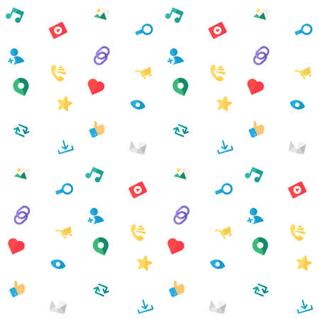 url virtual: Web Icons Seamless Pattern for blog and social networks, online shopping and email, files of video, images and photos. Elements for count of views, likes and reposts. Vector Illustration