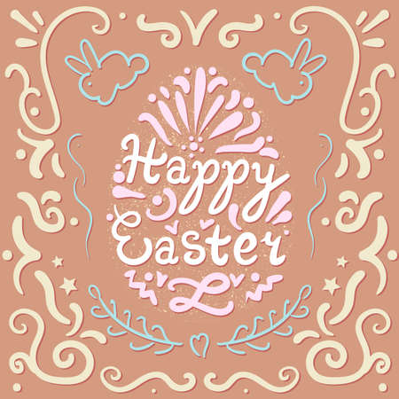 pasch: Vintage Happy Easter lettering in egg with rabbits. Pasch cookie. Vector Illustration