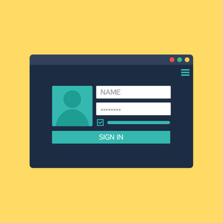 account form: Web Template, Web Elements for site form of login to account. Vector