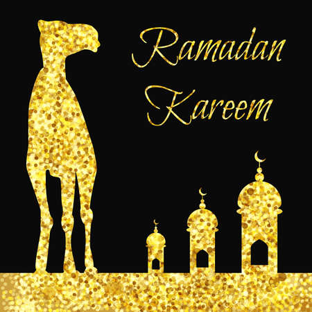 Ramadan greeting with camel, Islamic greeting card for Ramadan Kareem with gold glitters Vector